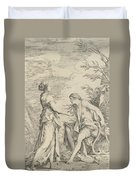 Apollo And The Cumaean Sibyl Duvet Cover