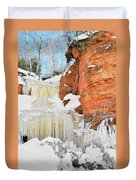 Apostle Islands National Lakeshore Waterfall Portrait Duvet Cover