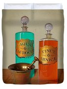 Apothecary Bottles And Brass Pestle And Mortar Duvet Cover