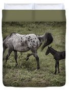 Appaloosa And Baby Duvet Cover