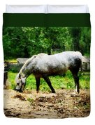 Appaloosa Eating Hay Duvet Cover