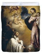 Apparition Of The Virgin To Saint Bernardo  Duvet Cover