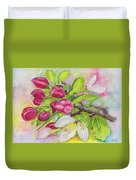 Apple Blossom Buds On A Greeting Card Duvet Cover