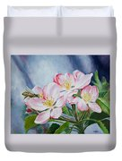 Apple Blossoms With Honeybee Duvet Cover