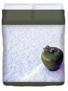 Apple On Snow Duvet Cover
