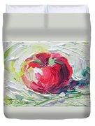 Apple On The Snow Duvet Cover