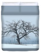 Apple Tree In Winter Fog Duvet Cover