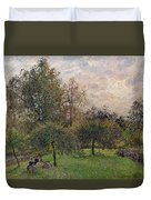 Apple Trees And Poplars In The Setting Sun Duvet Cover by Camille Pissarro