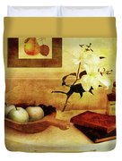 Apples And Pears In A Hallway Duvet Cover