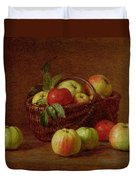 Apples In A Basket And On A Table Duvet Cover by Ignace Henri Jean Fantin-Latour