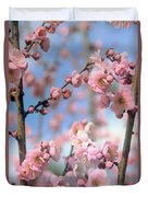 Apricot Tree Blossoms Duvet Cover