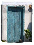 Aqua Door Textures Duvet Cover