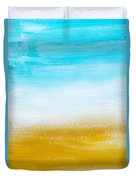 Aqua Gold Abstract Painting Duvet Cover