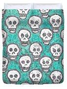 Aqua Skull Pattern Duvet Cover