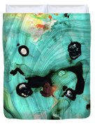 Aqua Teal Art - Volley - Sharon Cummings Duvet Cover