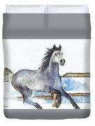 Arabian Horse And Snow - Pa Duvet Cover