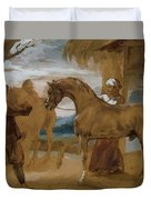 Arabian Stallion Led By Two Arabians To Breed Duvet Cover