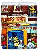 Arachides Depot Candy Shop Painting Rue De L'eglise Verdun Montreal Hockey Art Carole Spandau        Duvet Cover