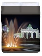 Arcade Du Cinquantenaire Fountain At Night - Brussels Duvet Cover by Barry O Carroll