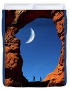 Arch In Canyon Rock Formations Silhouetter Of Hiker Duvet Cover