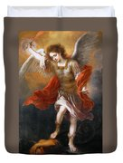 Archangel Michael Hurls The Devil Into The Abyss Duvet Cover