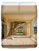 Arches, Entrance And Stairs Of Derelict Agios Georgios Church Duvet Cover