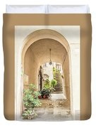 Archway And Stairs In Italy Duvet Cover