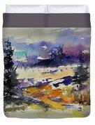 Ardennes Landscape Watercolor Duvet Cover