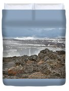 Area By Godafoss Waterfalls, Iceland Duvet Cover