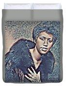 Aretha Franklin Abstract Art Duvet Cover