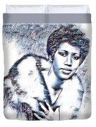 Aretha Franklin Portrait In Blue Duvet Cover