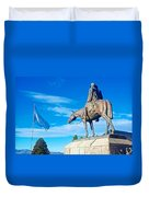 Argentinian Flag And Julio Roca-1843 To 1914-sculpture In Central Park In Bariloche-argentina  Duvet Cover