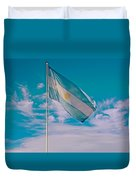 Argentinian Flag In Central Park In Bariloche-argentina  Duvet Cover