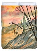 Arizona Evening Southwestern Landscape Painting Poster Print  Duvet Cover