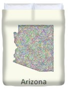 Arizona Line Art Map Duvet Cover