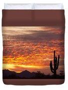 Arizona November Sunrise With Saguaro   Duvet Cover