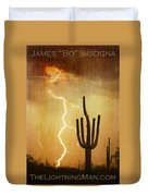 Arizona Saguaro Lightning Strike Poster Print Duvet Cover