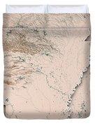 Arkansas State Usa 3d Render Topographic Map Neutral Border Duvet Cover