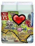 Arlington Texas Cartoon Map Duvet Cover