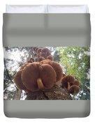 Armillaria Autumn On A Tree Trunk Duvet Cover
