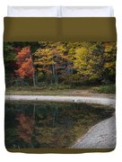 Around The Bend- Hiking Walden Pond In Autumn Duvet Cover