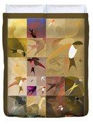 Arraygraphy - Birdies Sepia, Part 1 Duvet Cover