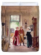 Arrival At The Inn Duvet Cover by Charles Edouard Delort