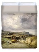Arrival Of A Stagecoach At Treport Duvet Cover