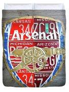 Arsenal Football Team Emblem Recycled Vintage Colorful License Plate Art Duvet Cover