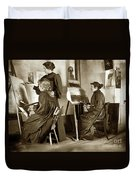 Art Class Oil Painting Teacher  And Art Students 1900 Duvet Cover