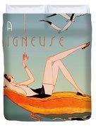Art Deco Beach Bather Duvet Cover