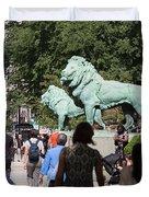 Art Institute Of Chicago Bronze Lions Duvet Cover