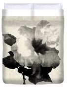 Art Is The Hibiscus -black And White Duvet Cover