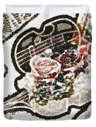Art Violin And Roses Pearlesqued In Fragments  Duvet Cover
